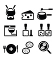 Swiss food and dishes icons - fondue raclette vector image