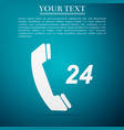 telephone 24 hours support icon on blue background vector image