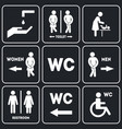wc sign for restroom set vector image