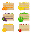 wooden boxes with fresh fruits vector image vector image