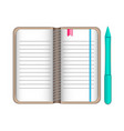 writing pad notepad pad with bookmarks in brown vector image