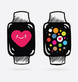 apple watch in cartoon style on screen watch pink vector image vector image