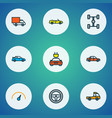automobile icons colored line set with sport vector image