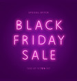 black friday sale neon web banner vector image