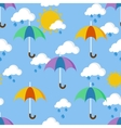 Bright seamless pattern with umbrellas in the rain vector image vector image