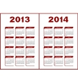 Calendar 2013 2014 vector image vector image