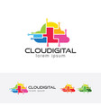 cloud digital logo design vector image vector image