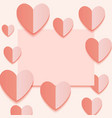 coral paper sheets with peach hearts 2019 color vector image