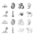 country india outlinemonochrome icons in set vector image vector image