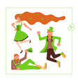 cute cartoon leprechauns dancing vector image vector image