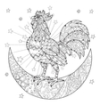 Cute cock rooster on christmas half moon