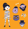 cute halloween characters set vector image