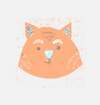 cute scandinavian fox face childish print for vector image