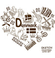 Danish symbols in heart shape concept vector image vector image