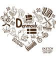 Danish symbols in heart shape concept vector image