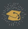 graduation cap vintage label grunge textured vector image vector image