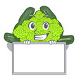 grinning with board roman cauliflower in the shape vector image