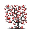 Love tree wih red hearts for your design vector image