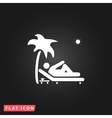Man relaxing on a deck chair under palm tree vector image