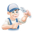 mechanic or plumber vector image vector image