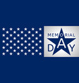 memorial day form blue star and part of usa flag vector image