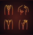 mens health neon light icons set vector image vector image