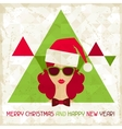 Merry Christmas background in hipster style vector image vector image