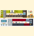 modern kitchen horizontal banners vector image vector image