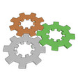 multicolor gears on white background vector image vector image