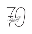 number 70 for anniversary celebration card icon vector image vector image