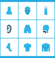 physique icons colored set with face finger vector image