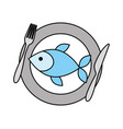 restaurant fish food with dish and fork knife vector image vector image