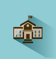 school building icon with shadow on blue vector image vector image