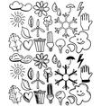 Set of black isolated environmental hand drawn vector image