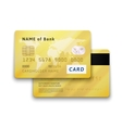 Set of detailed glossy gold credit card with two vector image