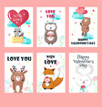 set of love cards with cute animals vector image vector image
