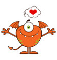 smiling cute monster character with a heart vector image vector image