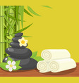 spa concept poster with towels stones and candle vector image