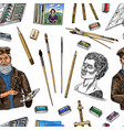 tools for artist seamless pattern easel vector image
