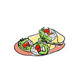 traditional mexican tacos hand drawn icon vector image vector image