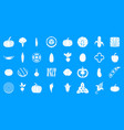vegetables icon blue set vector image