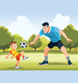young father with his little son playing football vector image vector image