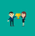 businessman and businesswoman show gold trophy vector image