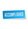 accomplished square sticker on white vector image vector image