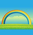 beautiful rainbow in sky vector image vector image
