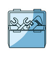 blue shading silhouette of opened plumbing toolbox vector image vector image