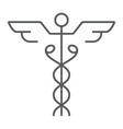 caduceus thin line icon medical and hospital vector image vector image