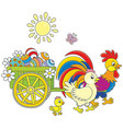 chicken family with a cart of easter eggs vector image