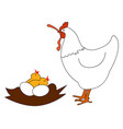 chicken with worm on white background vector image vector image