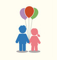 children icon couple icon with balloons graphic vector image